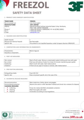 Freezol extinguisher safety data sheet