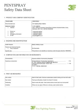 Pentspray safety data sheet